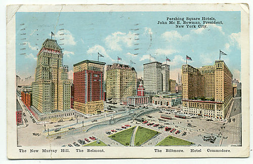 Pershing square circa 1922 postcard