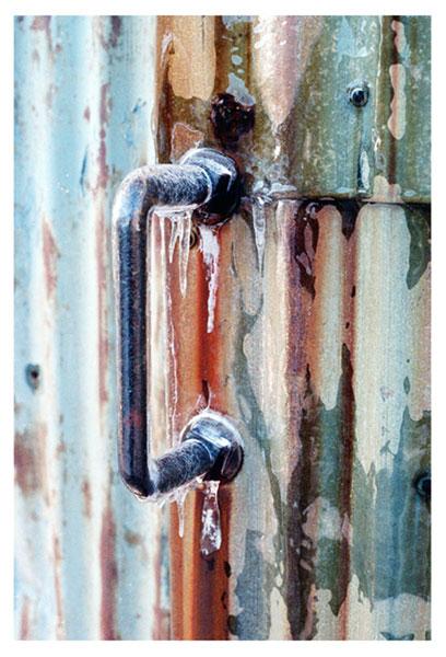 Icy handle, liza cowan photograph, greenport ny, shipyard,