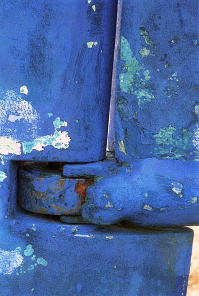 Blue rudder, liza cowan photograph, shipyard, cobalt blue,