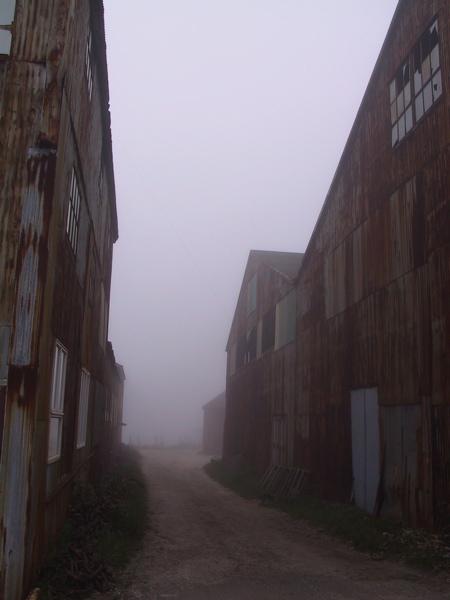 Foggy view to the bay, liza cowan photo, greenport ny, shipyard, fog, rust
