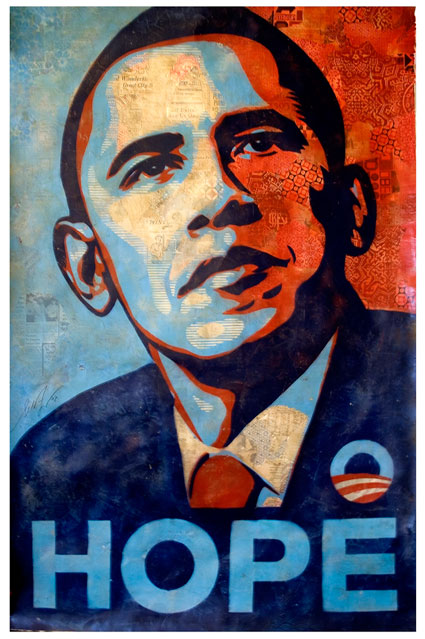 Obama shephard fairey orginal sold at charity auction - art for life $108,000