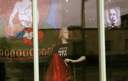 Obama window, art about obama, vote nov 4th t shirt, obama art with tibean buddhist symbol,