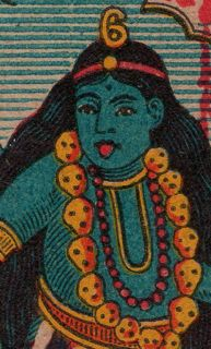 kali, matchbox label, skulls, india, calcutta, blue