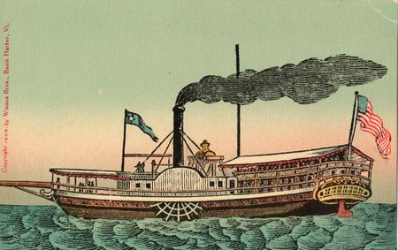 Steamboat Vermont 1809 postcard