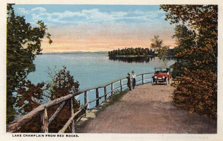 lake champlain, red rocks, auto 1910, women looking over fence, island lake champlain, burlington vt