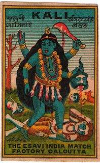 Matchbox label, kali, made in india, calcutta, skulls