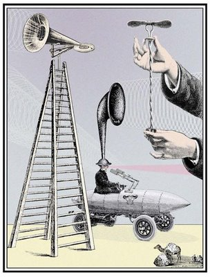 w david powell, collage, digital print, loudspeaker, ladder, curiosities