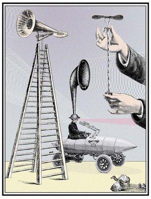 w david powell, collage, digital print, loudspeaker, ladder, curiosities