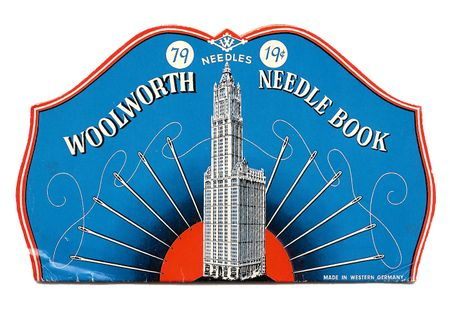 Needlebook, Woolworth, needle illustration, thread, needles in sunrise