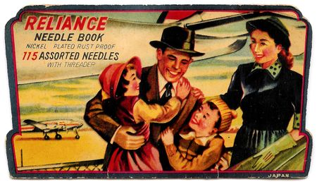 needle book, family with airplane, travel, 1940's, airplane, lady in gloves, father hugs children