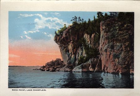 Rock Point, lake champlain, huge rocks, tall rocks, rocks on shoreline, pink sunset, hand tinted postcard, vermont
