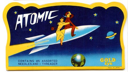 Needlebook, atomic, ride a rocket, man woman ride rocket ship, travel to outer space 1940's