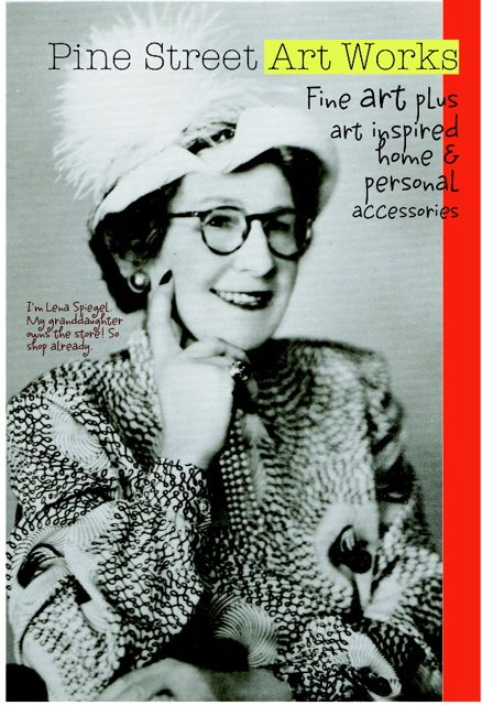 postcard, pine street art works, Lena Spiegel, elegant lady 1940's, feathered hat, horn rimmed glasses, varnished nails, Liza Cowan design
