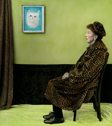 Aline Smithson, arrangement in green and black, whistler's mother, old lady in leopard skin coat, paint by number, leopardskin pillbox hat