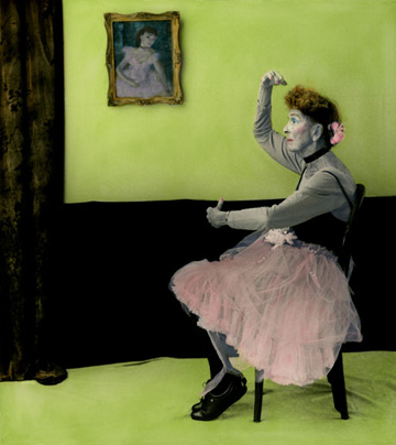 Aline Smithson, arrangement in green and black, old lady in tutu, old lady dancing, old lady degas, paint by number ballerina