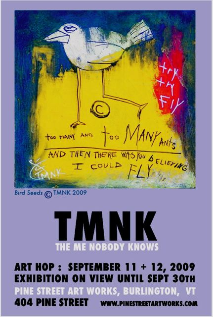 TMNK The Me Nobody Knows, Bird, graffiti, street art, too many ants, urban bird, exhibit pine street art works