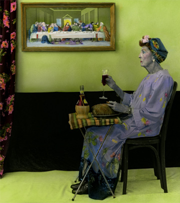 Aline Smithson, arrangement in green and black, paint by number, the last supper, old lady in curlers, old lady drinking wine, old lady eating supper on tray