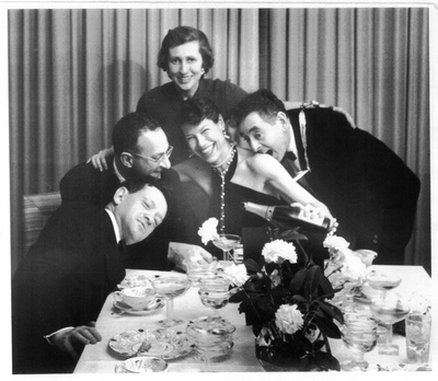 Ralph Steiner, Mary Morris, Mary Mary morris steiner, mary morris lawrence, Polly Cowan, Lou cowan, Max Lerner, Edna Lerner, elegant dinner party, man bites woman on shoulder,