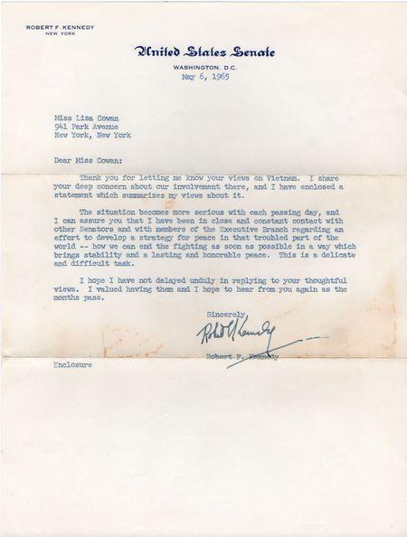 Robert F Kennedy letter, 1965, Vietnam War
