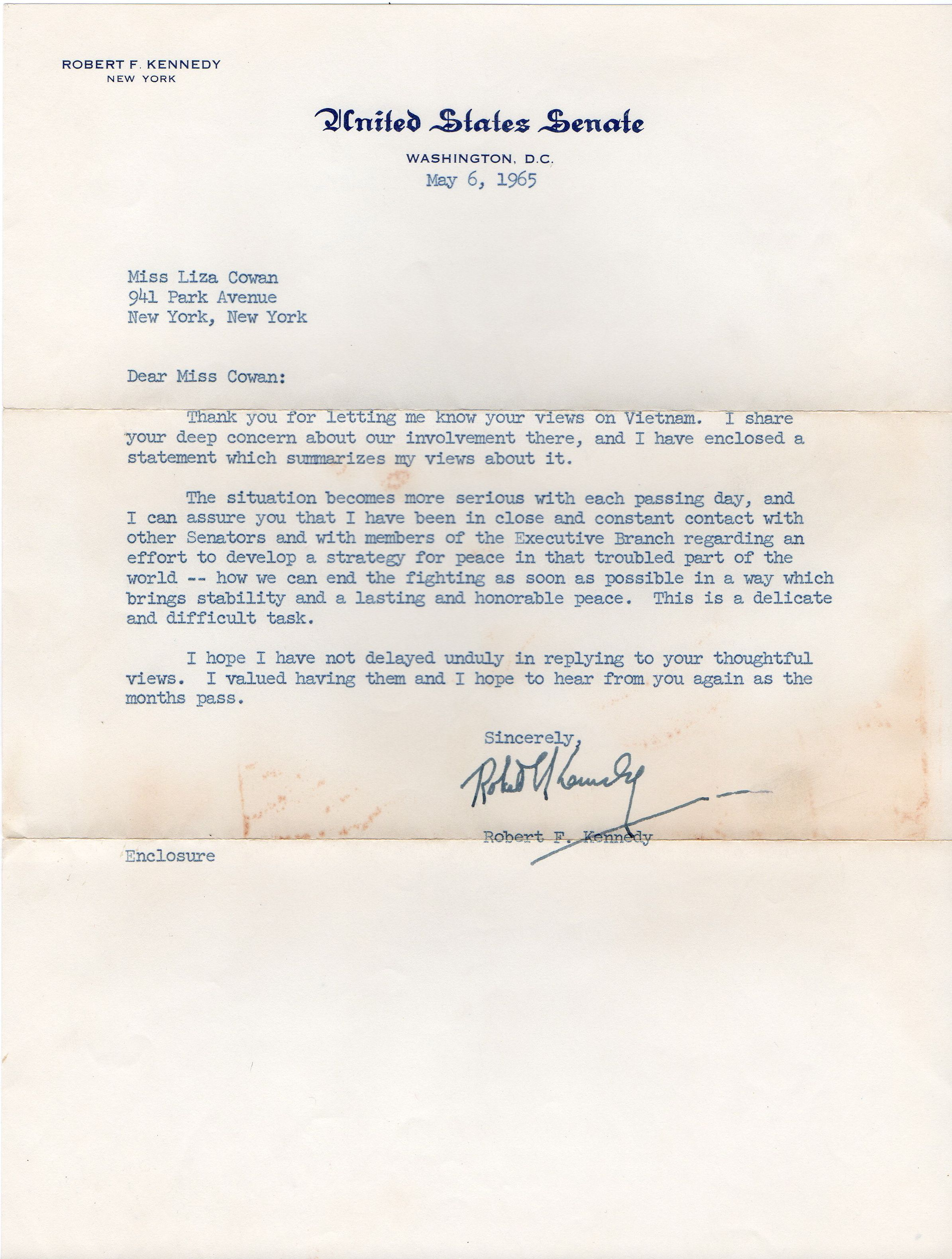 Letters From Robert F Kennedy  See Saw