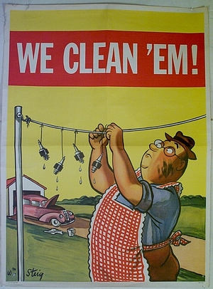 william steig, we clean 'em, shell oil, advertising poster, 1944, Liza Cowan Collections