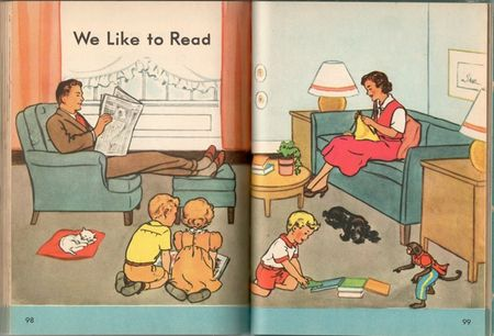 Happy days, children's reader, mother knits, father reads, children reading, monkey with books, cat on pillow, mid 20th century home
