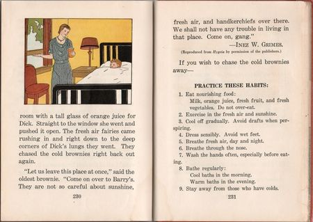 Health stories, irene dorcy, vera stone norman, children's health mid 20th century, mother at window, orange juice, boy in bed, eat nourishing food, children's health primer