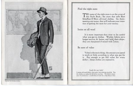 hart shaffner marx style book, elegant young man, spats, dandy with walking stick