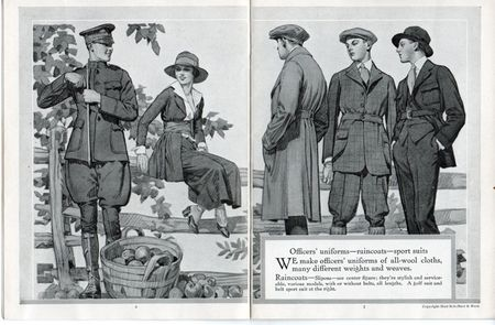5 hart shaffner marx style book for men, 1917, military uniforms world war one, man in jodphurs, men in plus four, woman sitting on fence, elegant men, woman in spats,