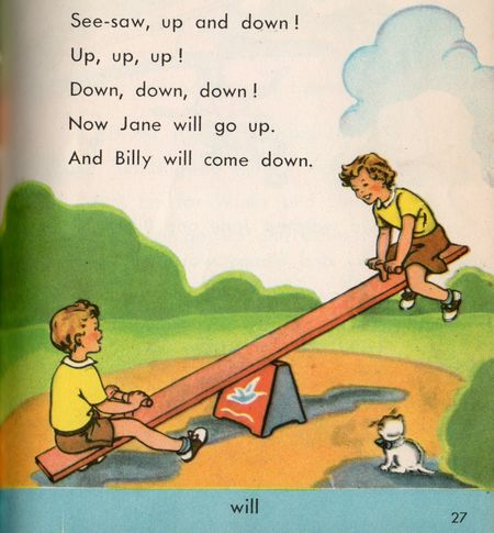 Kids on seesaw, constance heffron, happy days, 1951, allyn and bacon