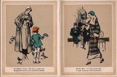 Hart schaffner marx, coats for women 1924, St Marks venice, loose wrappy coat, pigeons, orange hat, on the bois,