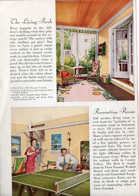 Sherwin williams, 1934, the living porch, recreation room, ping pong