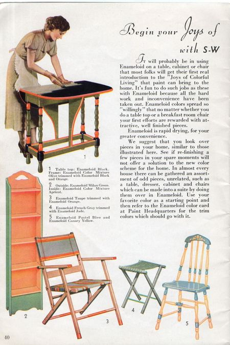 Sherwin williams, joys of colorful living with sw enamaloid 1934