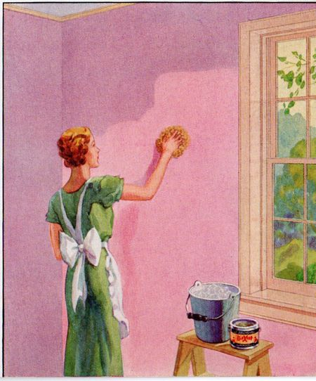Sherwin will 1935 detail, woman washing wall, woman in apron, woman with sponge, pink wall