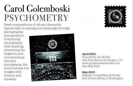 Carol golemboski, psychometry, exhibition post card, pine street art works, back