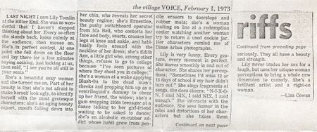 Lily Tomlin, Liza Cowan, review, village voice 1973
