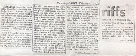 Lily Tomlin, Liza Cowan, review, village voice 1973
