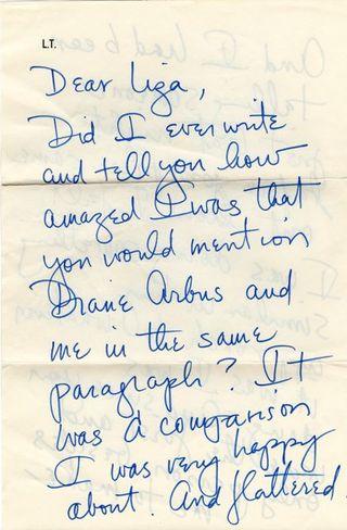 Lily Tomlin, Liza Cowan, handwritten letter