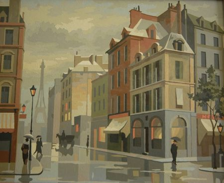 Paint by number, paris in the rain