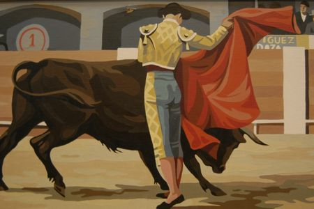 Paint by number, bull fight, torreador, red cape