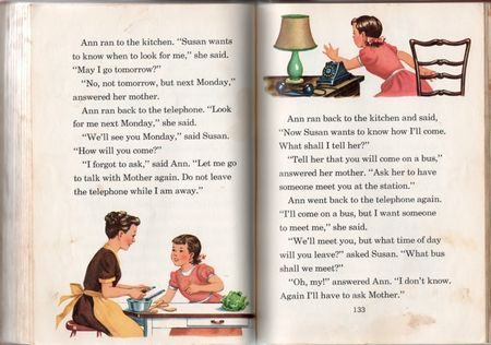 Meet our friends, children's reader, 1950, janet ross, ramon naylor, mother peels carrot, old fashioned telephone, mother and daughter cook 1950, beige apron, girl in pigtail,