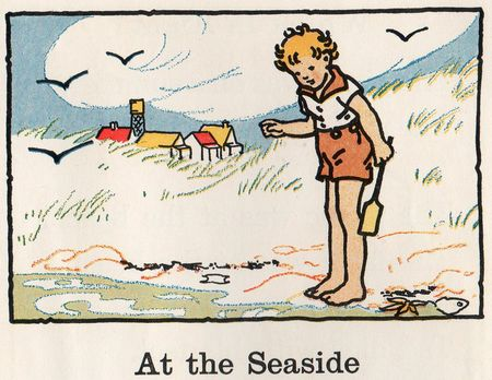 City country reader, Florence Hoopes, Margeret Hoopes, Margaret Freeman, seaside illustration, children at beach, at the seaside