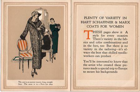 Hart schaffner marx, coats for womn, ancient tracery, paris hat shop, 1924
