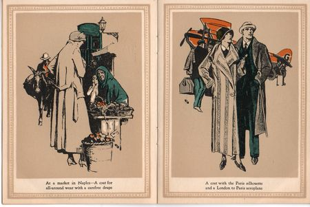 Hart schaffner marx, coats for women, 1924, market in Naples, carfree drape, london to paris aeroplane