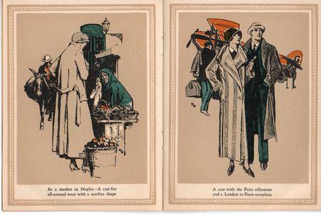 Hart schaffner marx, coats for women, 1924, market in Naples, carfree drape, london to paris aeroplane