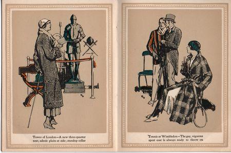 Hart schaffner marx, coats for women 1924, Tower of london, plaits at side, tennis at wimbledon, sport coat, tennis raquet,