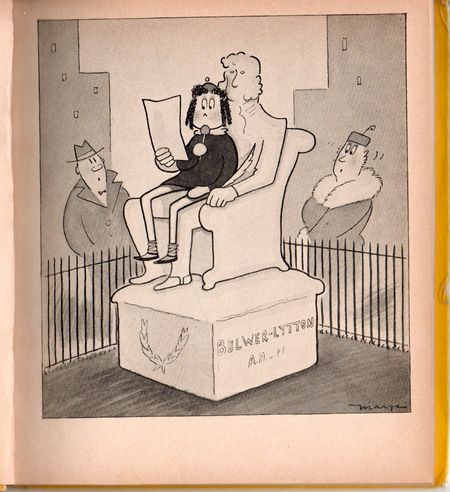 Little lulu, marge, little lulu on statue, lulu 1939, black and white comic
