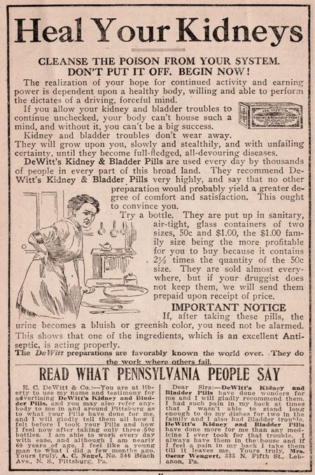 Heal your kidneys, dewitts 1912, kidneys 1912, pills 1912, cleanse poison from your system