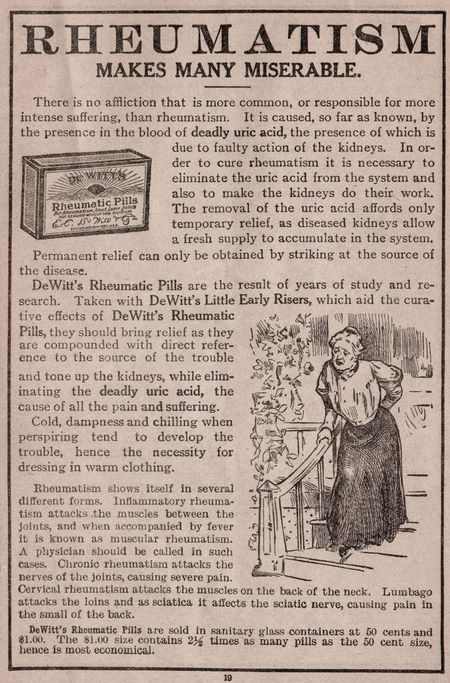 Rheumatism, 1912, medicine 1912, dewitts pills, woman with bad back, rheumatic pills 1912