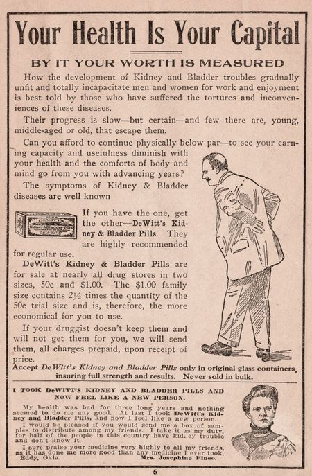 Your health is your capitol, dewitt's pills, health 1912, bad back 1912